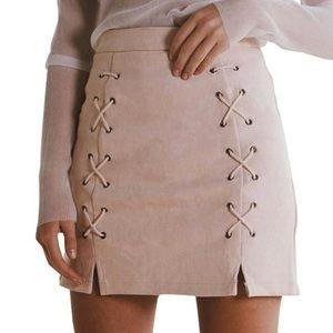 Blush pink faux suede micro fiber mini skirt